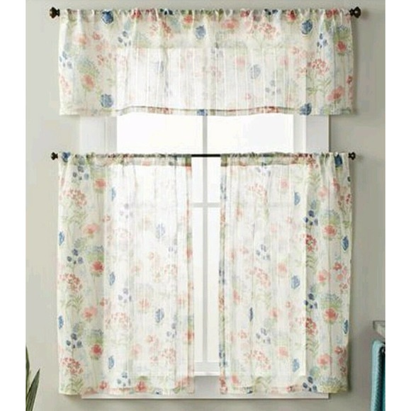 "Tranquil Floral Flower 36"" Small Sheer Window Set"